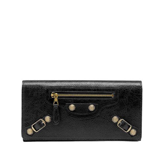 Black Balenciaga Giant Gold Continental - Women's New Arrivals  #Balenciaga #handbags Visit www.balenciaga.com