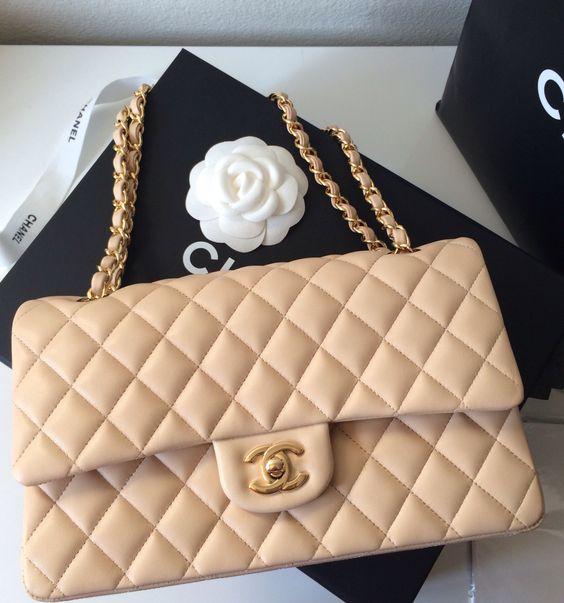 NEW-Chanel Classic 2.55 Medium Lambskin Flap GHW Shoulder Bag: