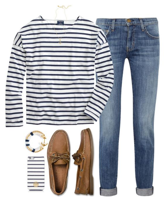 """gettin nauti"" by tabooty ❤ liked on Polyvore featuring Current/Elliott, J.Crew, Sperry Top-Sider, Brooks Brothers and Tory Burch"