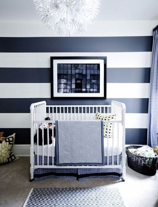 11 Gorgeous Ways To Use Wallpaper In Your Nursery Striped Walls
