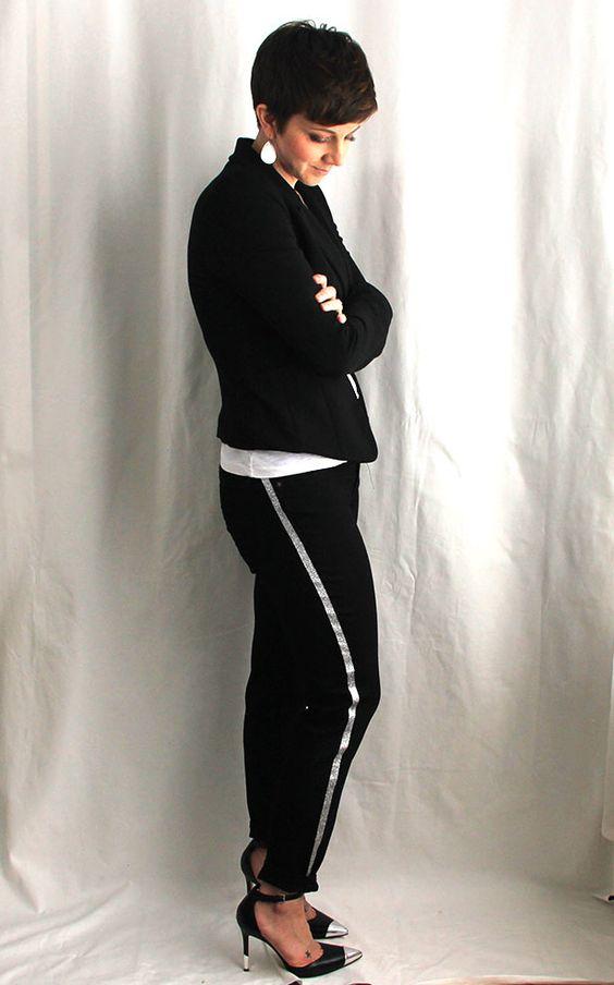 Ellen models her DIY tuxedo stripe skinny jeans >> http://blog.diynetwork.com/maderemade/how-to/diy-tuxedo-stripe-skinny-jeans/?soc=pinterest