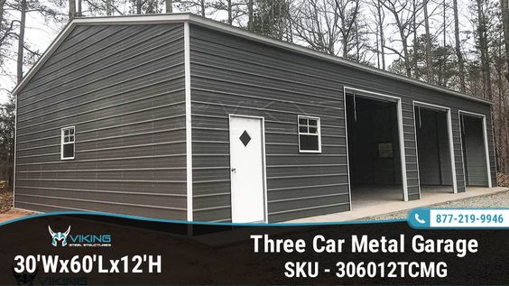 30 W X 60 L X 12 H Three Car Metal Garage Metal Garages Garage Metal