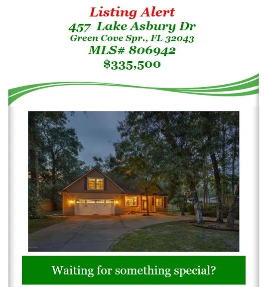 New Listing Alert: Large House near beautiful Lake Asbury! 457 Lake Asbury Dr, Green Cove Spr., FL 32043, MLS# 806942, $335,500. Brought to you by INI Realty Investments Inc., the first 100% Commission Real estate Office in Jacksonville, FL. www.100RealestateJax.com