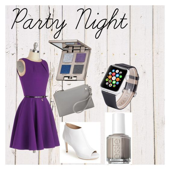 """Party Night 1"" by stefanie-alyssa-ritchie ❤ liked on Polyvore featuring moda, Closet, Via Spiga, Neiman Marcus, Essie, Laura Mercier, party, amazon i applewatchband"