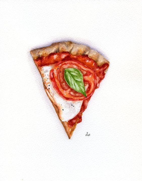 Pizza slice ORIGINAL Painting Still Life por ForestSpiritArt