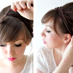 Cute braided updo-- tease crown, pin half-up hair with bobby pins, braid 2 sections (hair that's still down), and pull over to opposite sides. Pin.