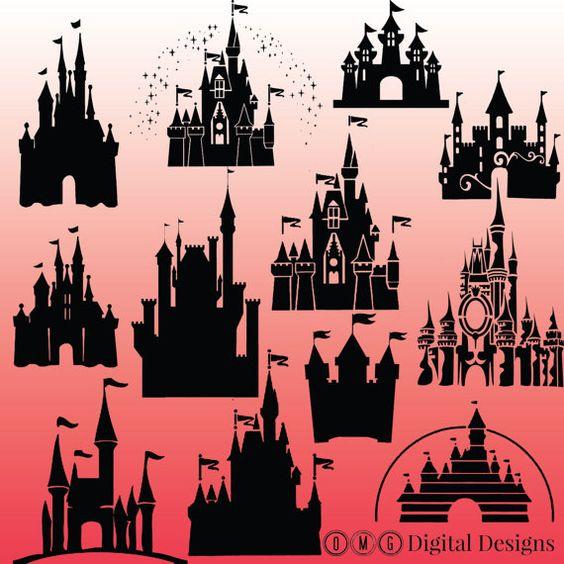 12 silhouette Château de Cendrillon Château par OMGDIGITALDESIGNS