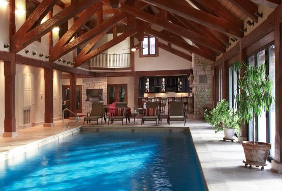 Indoor pools residential pool with adjacent for Swimming pool design utah