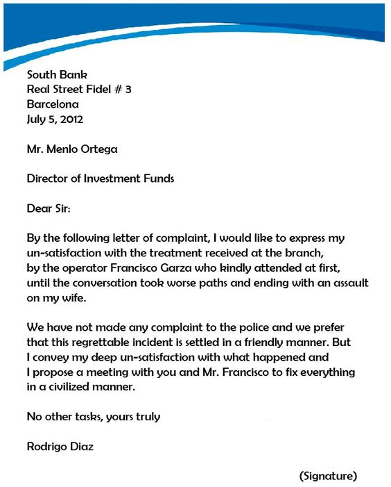 complaint letter samples writing professional letters template - complaint letter