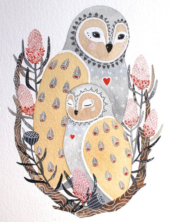 Awesome Etsy listing at https://www.etsy.com/pt/listing/185603121/owl-illustration-watercolor-painting-lua