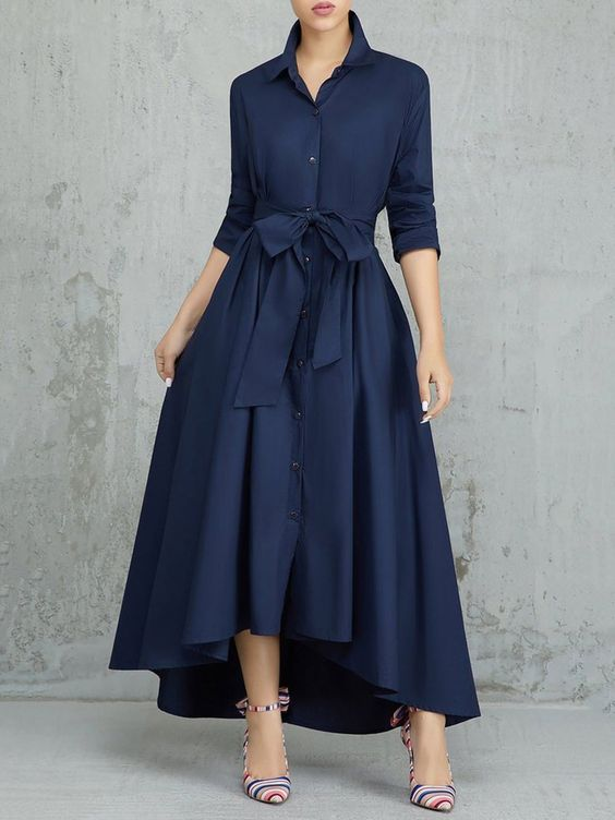 PopJuLia Shirt Collar High Low Elegant Long Sleeve Bow Asymmetric Dress