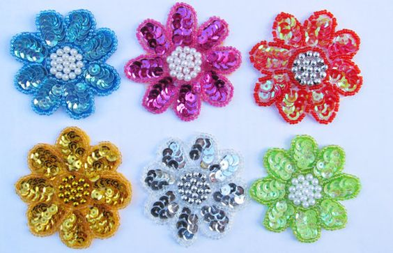Silver White Flower Applique 2.5 Sequins Pearls by inthepinkroom