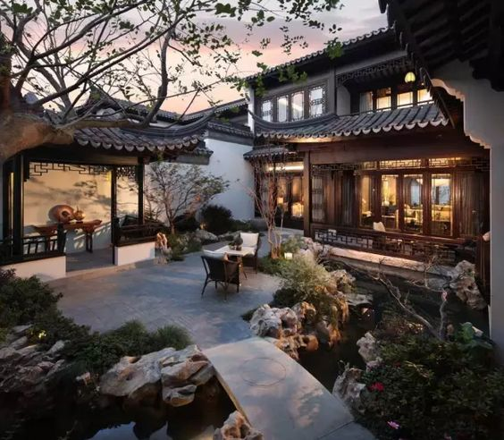If you have a small sized backyard or just a patio, structuring a winding and narrow stream (instead of a pool) can be a practical way to bring in the motion, add the depth to vertical dimension and improve the microclimate of the open space in your residential premises -- A newly built garden residence in Suzhou.