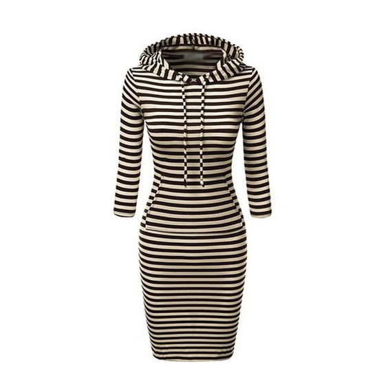 Rotita Long Sleeve Stripe Print Bodycon Dress (¥2,895) ❤ liked on Polyvore featuring dresses, black, long sleeve sheath dress, black bodycon dress, black striped dress, black sleeve dress and long sleeve dress