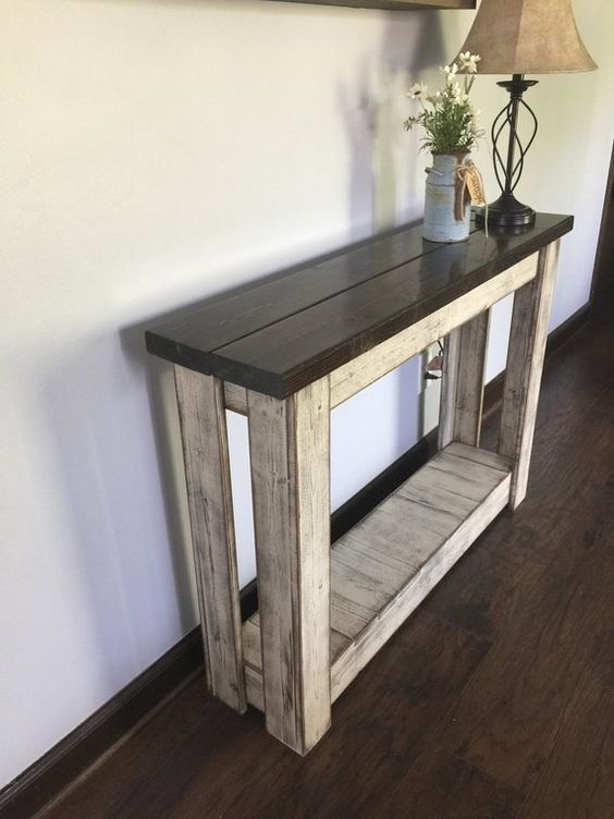 Miraculous Primitive Distressed Solid Wood Entryway Table Hallway Machost Co Dining Chair Design Ideas Machostcouk