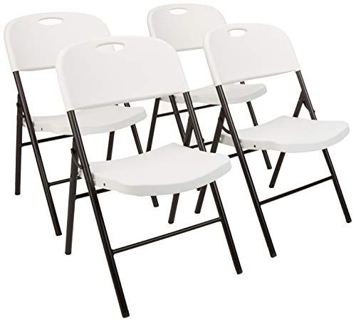 Amazonbasics Folding Plastic Chair 350 Pound Capacity White