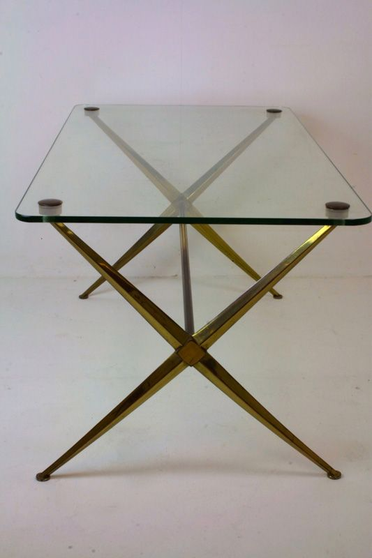 GILT ALUMINIUM, BRASS & GLASS COFFEE TABLE, circa 1960's, in the manner of Angelo Ostuni. | World's End Midcentury Modern