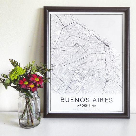 Cuadro mapa Buenos Aires, ideal para decorar todos tus espacios #LaBalconada #CuadroMapa