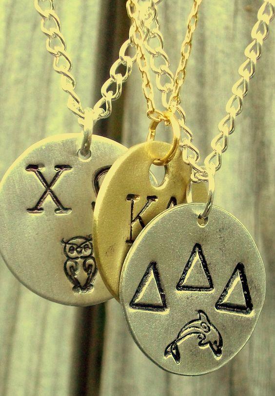 Sorority Charm Necklace w/ Symbol. $30.00, via Etsy.
