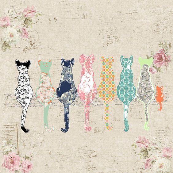 cortina de baño de gato, shabby chic visillo, cortina de ducha de gatos, baño chic shabby decoración, decoración de gato, cortina de ducha rosa, arte del cuarto de baño de gato