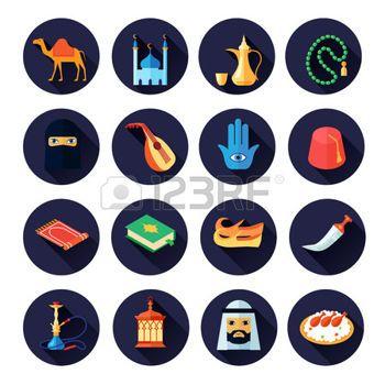araber: Arabische Kultur Symbol Wohnung mit Kamel Moschee Kaffee Musik-Symbole isoliert Vektor-Illustration gesetzt