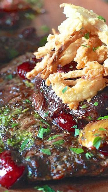 Grilled Skirt Steak with Roasted Cherries and Figs with Crispy Onions ...