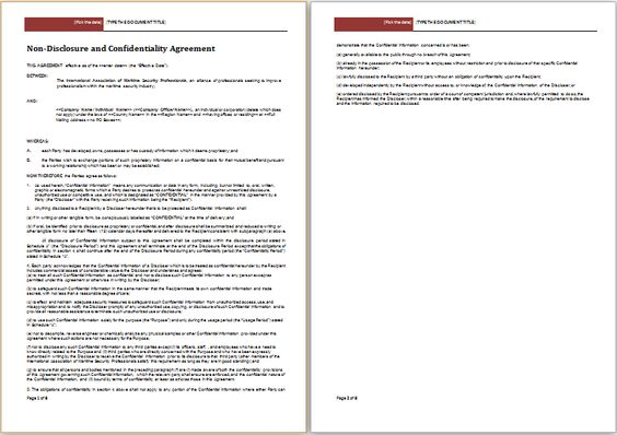 Non-Disclosure Agreement (NDA) Template Eppi Pinterest - patient confidentiality agreement