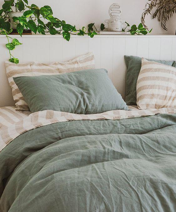Moss Bedding In A Bag Linen Moss Color Bed In A Bag Complete Bedding Sets Sage Green Bedroom Bedroom Interior Sage Bedroom
