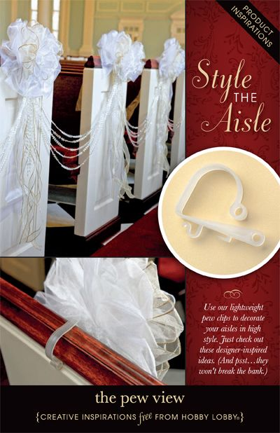 Use our lightweight pew clips to decorate your aisles in high style. Just check out these designer-inspired ideas. (And psst…they won't break the bank.): Pew Idea, Good Ideas, Church Pew Decoration, Hobby Lobby Wedding Ideas, Cute Ideas, Beautiful Ideas, Hair Ideasa, Creative Inspiration