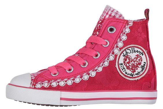 Diese schönen Kindersneaker von Krüger stehen den Sneakermodellen für Erwachsene in nichts nach. Diese Schuhe sind aus einem Material in kräftigiem Pink gearbeitet, welches schön in sich gemustert ist. Die verschiedenen Materialien, schöne Stickerei, weiße Spitze an den Seiten und die farblich passenden Schnürsenkel machen diese Schuhe zu einem echten Hingucker!