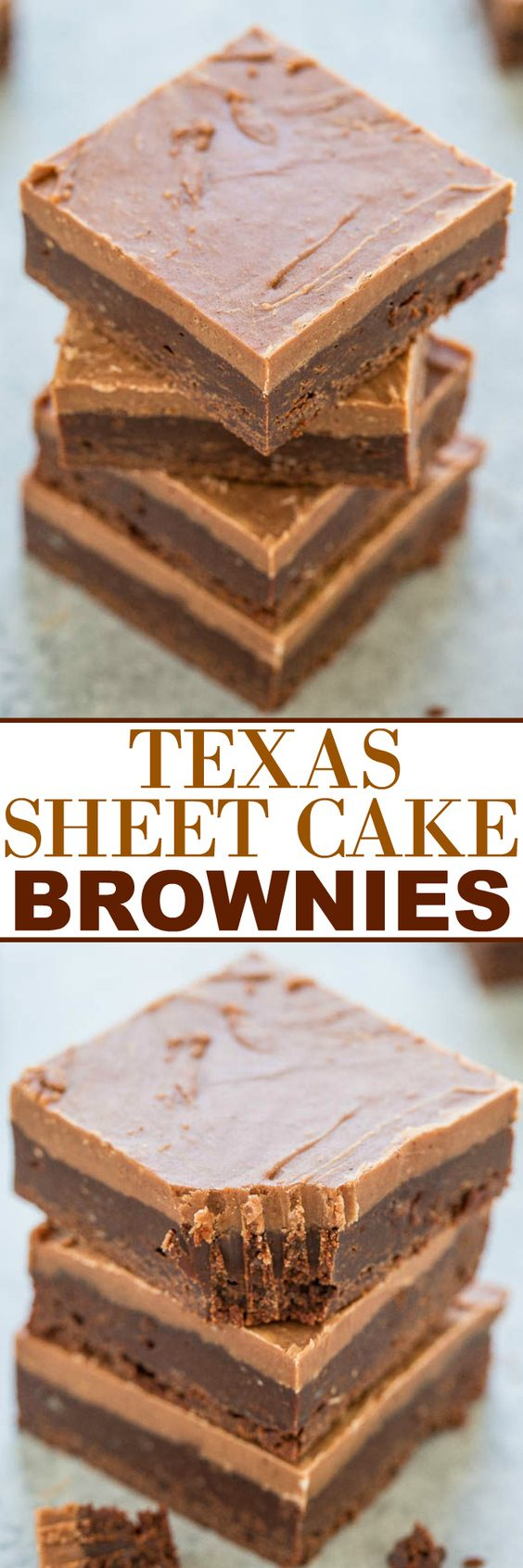 Texas Sheet Cake Brownies Dessert Recipe via Averie Cooks - Easy, FUDGY, no mixer brownies that are rich, chocolaty and decadent!! The classic Texas sheet cake frosting makes them totally IRRESISTIBLE!! The Best EASY Sheet Cakes Recipes - Simple and Quick Party Crowds Desserts for Holidays, Special Occasions and Family Celebrations #sheetcakerecipes #sheetcake #sheetcakes #cakerecipes #cakes #dessertforacrowd #partydesserts #christmasdesserts #thanksgivingdesserts #newyearseve #birthdaydesserts