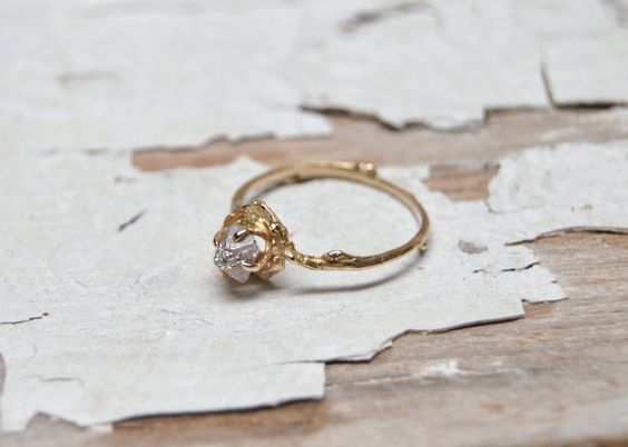 Naples Uncut Diamond Engagement Ring 14kt Gold and by OliviaEwing
