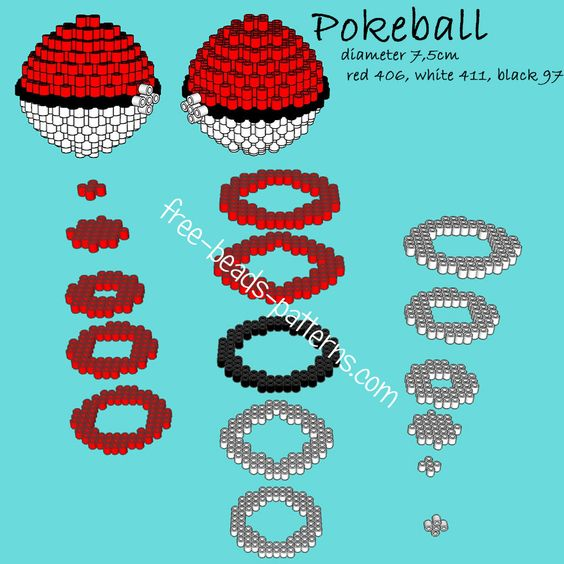 Pokeball 3d perler beads Hama Beads Playbox Pyssla pattern