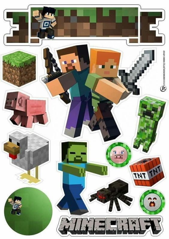 Minecraft Party Free Printable Cake Toppers Oh My Fiesta For Geeks Minecraft Party Minecraft Party Decorations Minecraft Printables