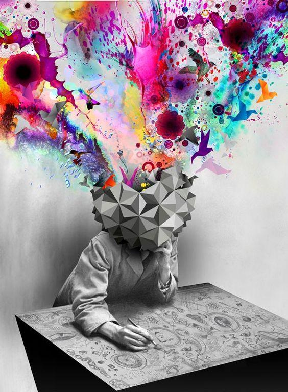 Esta imagen muestra como nuestros pensamientos estan tan llenos de vida y serian de utilidad para una sociedad tan fria y de pocos colores. Encerramos nuestros pensamientos, poniendo barreras y no los dejamos fluir como deberian, encerramos nuestra escencia que esta llena de color en una capsula y pintamos un mundo a blanco y negro.