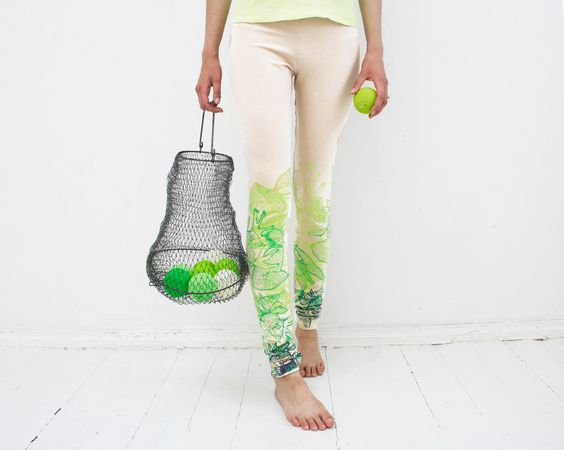 Live green - beige organic cotton leggings with lime green print. $45.00, via Etsy.