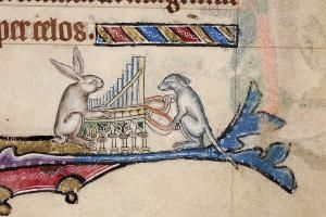 Hare playing a pipe organ in the Macclesfield Psalter from Showdown: Rabbits vs. Hares, (aka, Happy Anniversary Mr. Beuys) by Tania O'Donnell from proximityarts.org