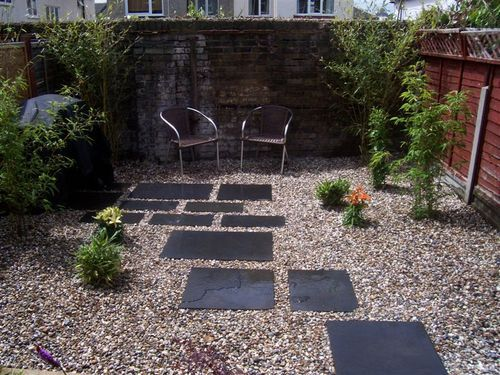 Easy low maintenance modern backyard chelmsford black for Low maintenance gravel garden