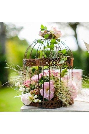 Cage oiseaux en m tal vieilli voli re de d coration for Decoration jardin oiseau metal
