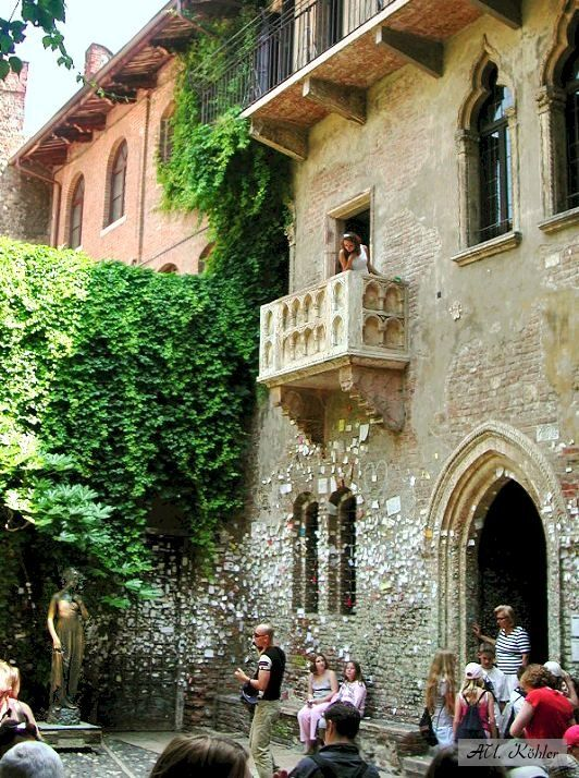 Juliet's balcony, Verona, Italy.   Go to www.YourTravelVideos.com or just click on photo for home videos and much more on sites like this.