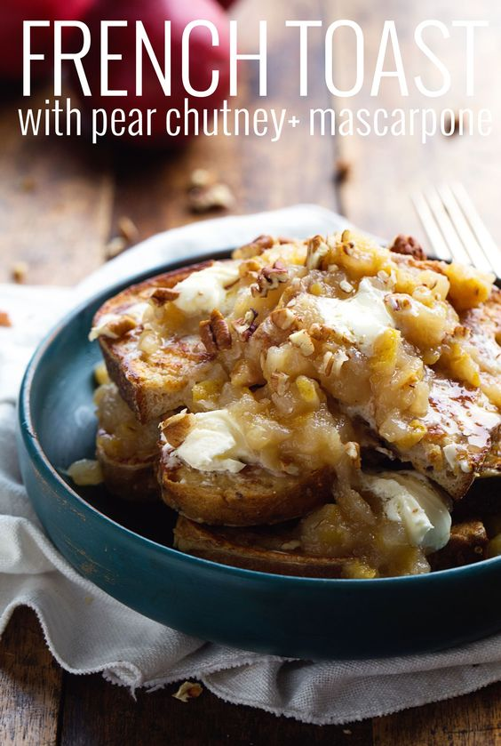 French Toast with Pear Chutney and Mascarpone - this cozy homemade fall breakfast is refined sugar free and SO GOOD. | pinchofyum.com #french #toast #pear #recipe