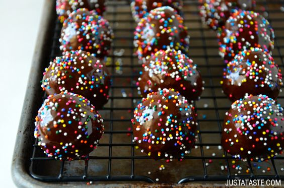 Homemade Glazed Chocolate Doughnut Holes Recipe from justataste.com