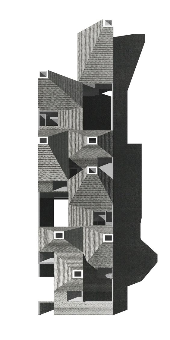 Schützen community housing - tilted view, drawing submitted to The Architectural Review