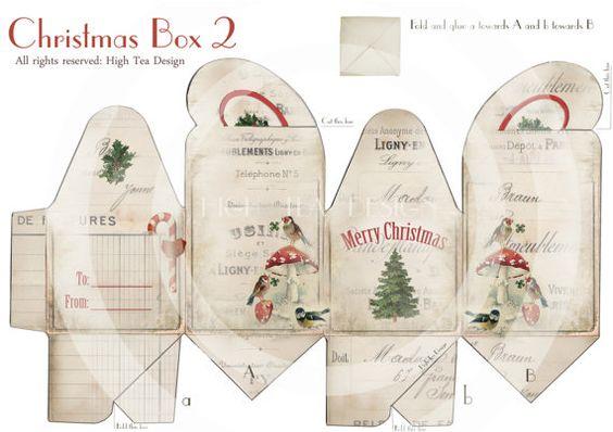 Vacances de Noël boîte 2 - joyeux Noël - Giftwrapping - Template - téléchargement-