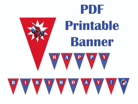Spiderman HAPPY BIRTHDAY Printable Banner PDF by ziggles on Etsy ...
