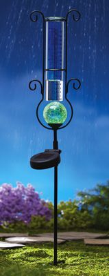 Solar Color Changing Rain Gauge Lawn Stake Solar Powered
