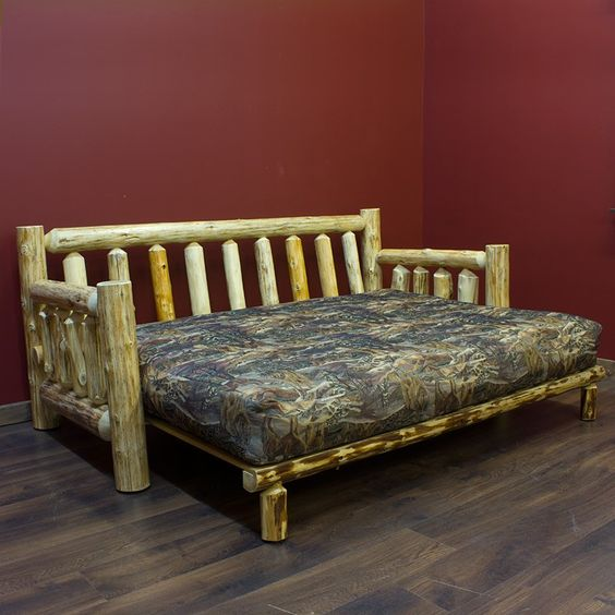 Log futon beds rustic futons cabin style futon folding for Log cabin style bunk beds