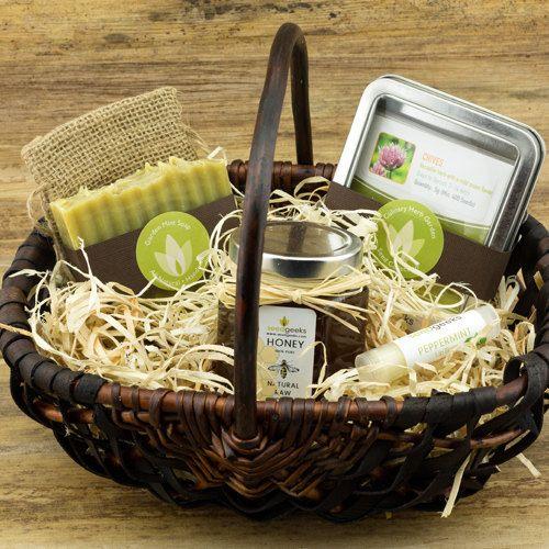 Heirloom Garden Gift Basket w/ Handmade Soap, Lip Balm, 8oz Raw Honey, & Heirloom Garden Seed Collection