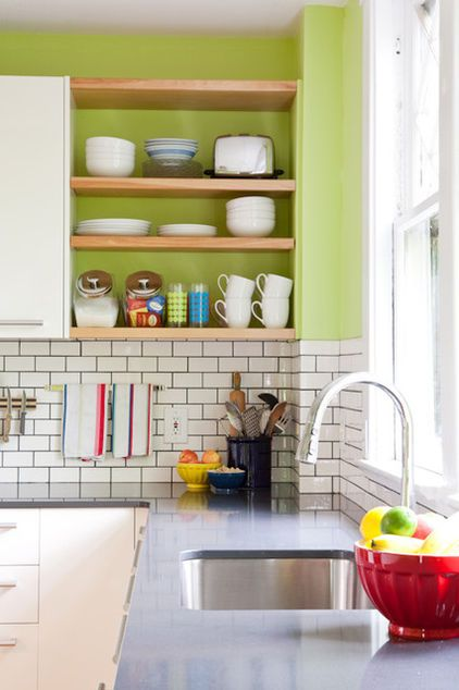 Maybe make a spot like this between 2 cabinets for jars?