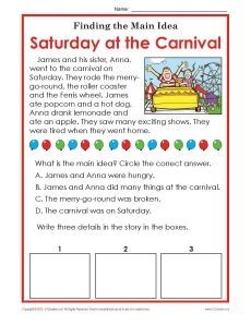 Printables Main Idea And Details Worksheets 1st or 2nd grade main idea worksheet about carnivals circles details assessment
